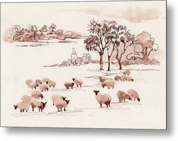 Watercolor Summer Landscape With Sheep Metal Print