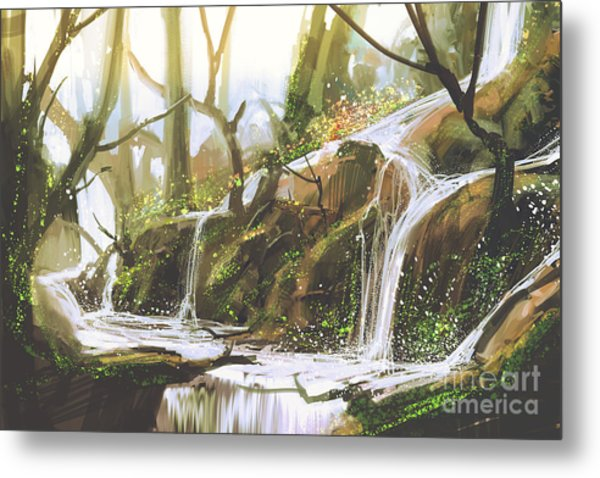 Waterfall In Forest,illustration Metal Print