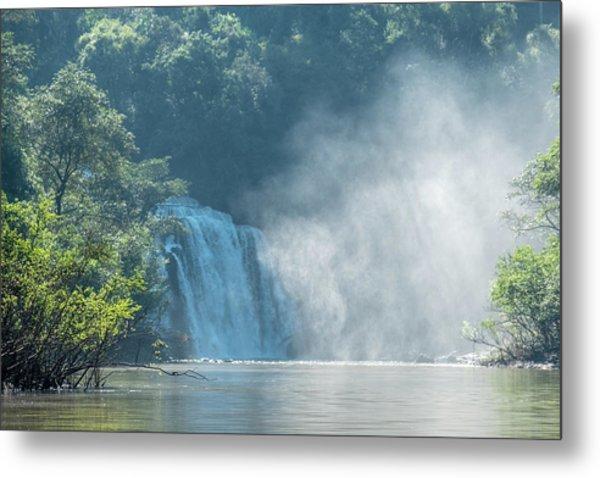 Waterfall, Sunlight And Mist Metal Print