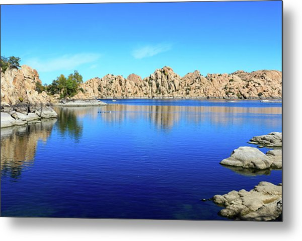 Metal Print featuring the photograph Watson Lake And Rock Formations by Dawn Richards