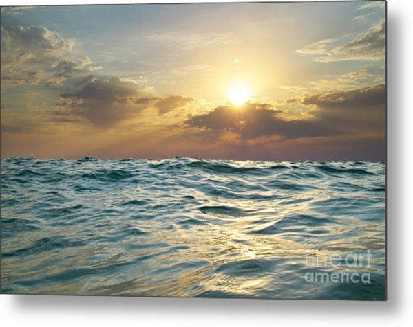 Wave On Sunset. Nature Composition Metal Print by Djgis