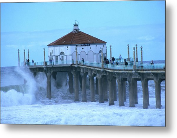Waves Breaking Into The Pier At Metal Print