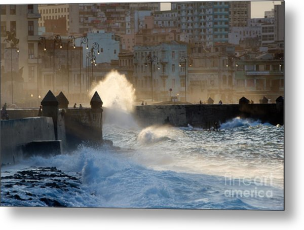 Waves Crashing Against The Sea Wall Of Metal Print