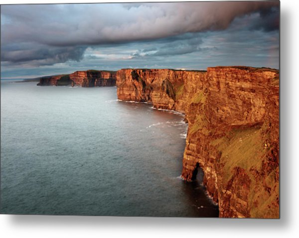 Waves Washing Up On Rocky Cliffs Metal Print by George Karbus Photography