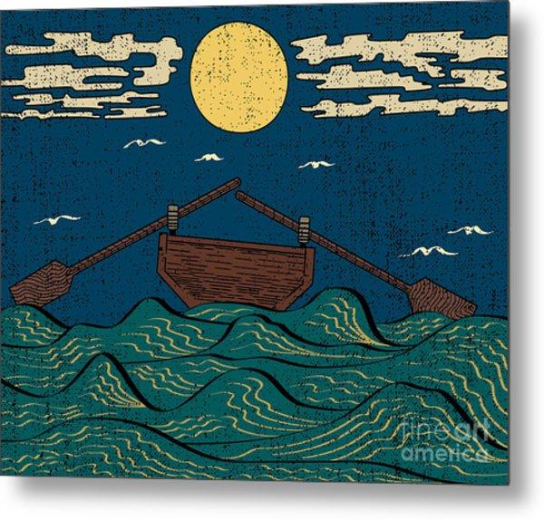 Wavy Sea Water Landscape Depicting Boat Metal Print