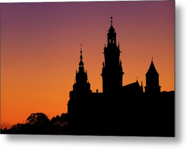 Wawel Cathedral And Castle Silhouette In Krakow Metal Print
