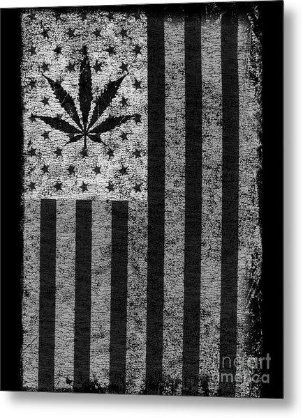 Weed Leaf American Flag Us Metal Print