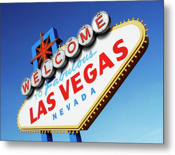 Welcome To Las Vegas Sign, Low Angle Metal Print by Steven Puetzer