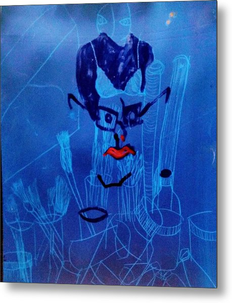 When His Face Is Blue For You Metal Print