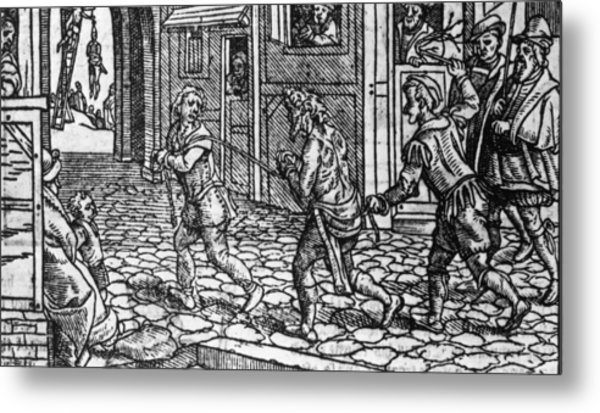 Whipping Beggars Metal Print by Fotosearch