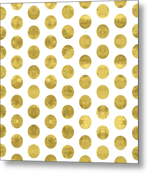 White And Gold  Pattern. Abstract Metal Print