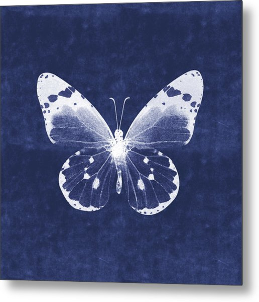 White And Indigo Butterfly 1- Art By Linda Woods Metal Print