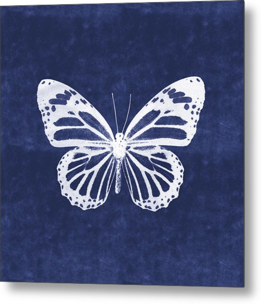 White And Indigo Butterfly 3- Art By Linda Woods Metal Print