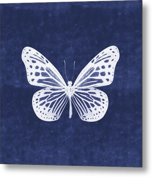 White And Indigo Butterfly- Art By Linda Woods Metal Print