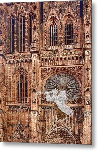 White Angel Decorations On Shops At The Christmas Market Metal Print