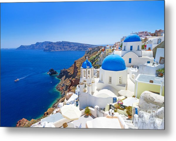 White Architecture Of Oia Village On Metal Print by Patryk Kosmider
