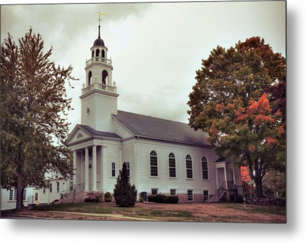 Metal Print featuring the photograph White Church In Fall - Hollis Nh by Joann Vitali