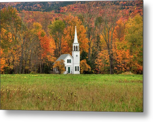 Metal Print featuring the photograph White Country Church In Autumn - Wonalancet Union Chapel  by Joann Vitali