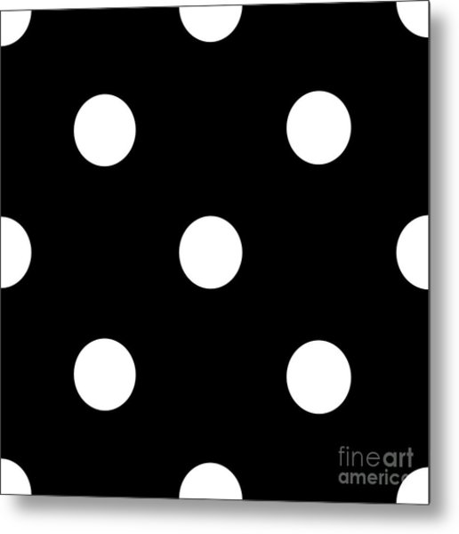 White Dots On A Black Background- Ddh612 Metal Print