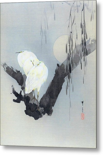 White Egret And Moon - Digital Remastered Edition Metal Print