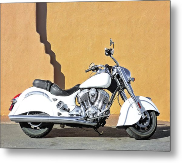 White Indian Motorcycle Metal Print