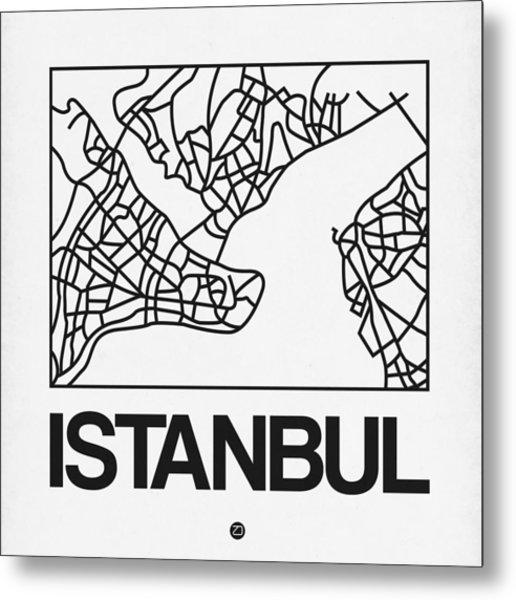 White Map Of Istanbul Metal Print