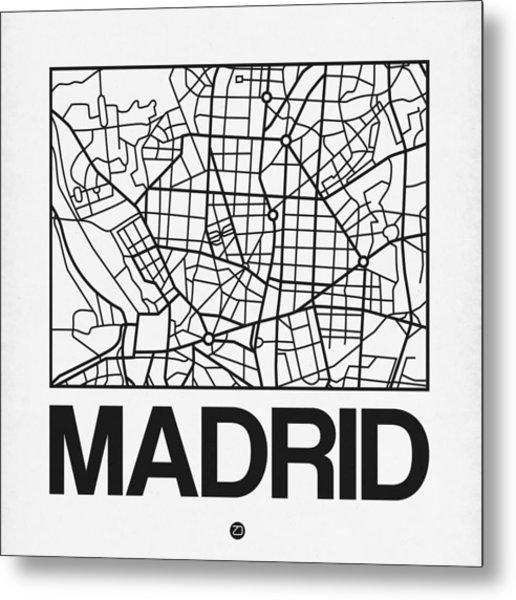 White Map Of Madrid Metal Print