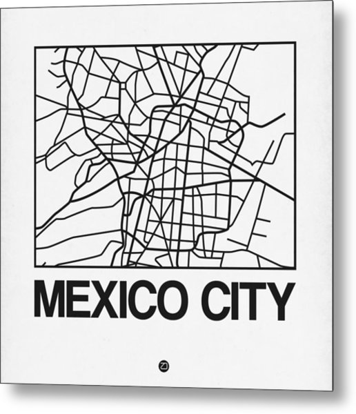 White Map Of Mexico City Metal Print