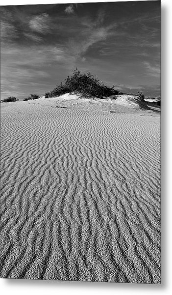 Metal Print featuring the photograph White Sands New Mexico Waves In Black And White by Chance Kafka