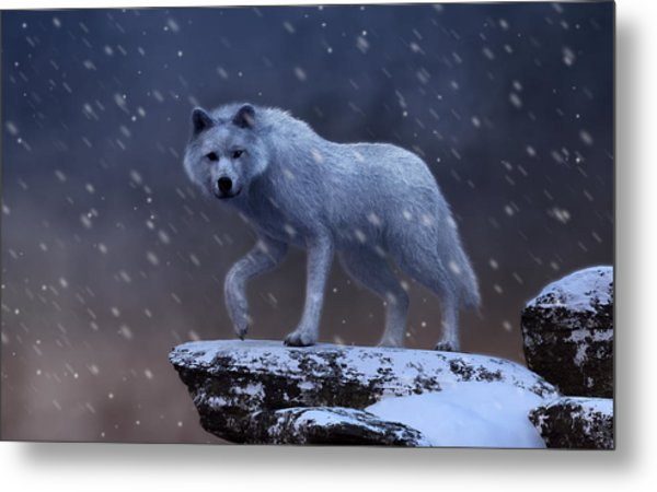 Metal Print featuring the digital art White Wolf In A Blizzard by Daniel Eskridge