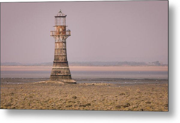 Metal Print featuring the photograph Whiteford Point Lighthouse In Pink by Elliott Coleman