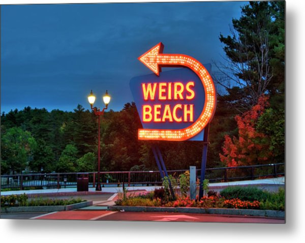 Metal Print featuring the photograph Wiers Beach Sign - Laconia, Nh by Joann Vitali