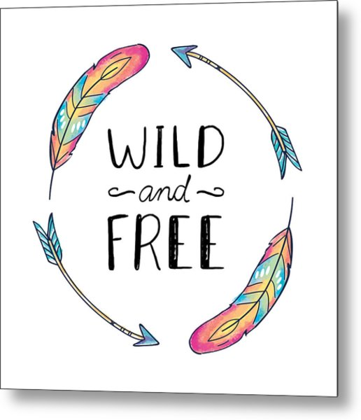 Wild And Free Colorful Feathers - Boho Chic Ethnic Nursery Art Poster Print Metal Print