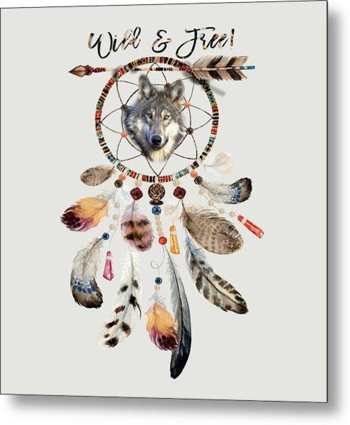 Metal Print featuring the mixed media Wild And Free Wolf Spirit Dreamcatcher by Georgeta Blanaru