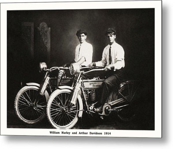 William Harley And Arthur Davidson 1914 Metal Print