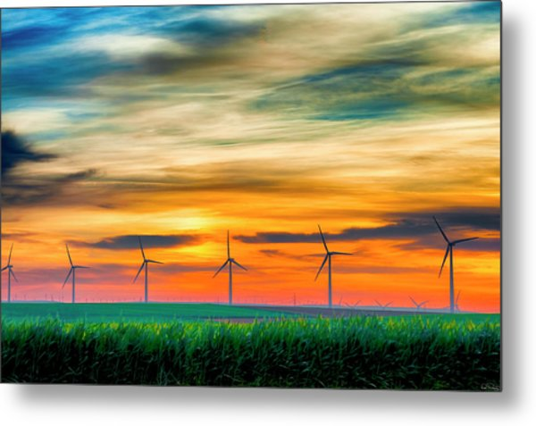 Wind Energy Sunrise Metal Print