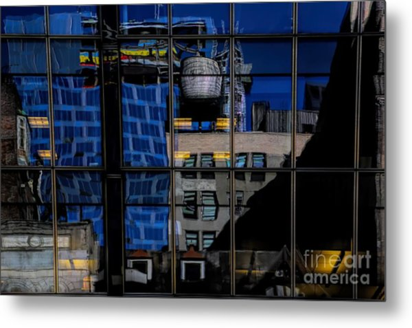 Window Architectural Reflections Nyc Metal Print