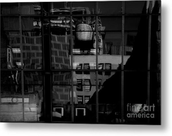 Window Reflection Nyc Bw  Metal Print