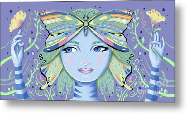 Insect Girl, Winga - Purple Metal Print