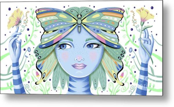 Insect Girl, Winga - White Metal Print