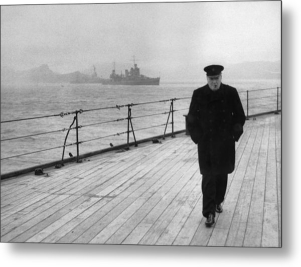 Winston Churchill At Sea Metal Print