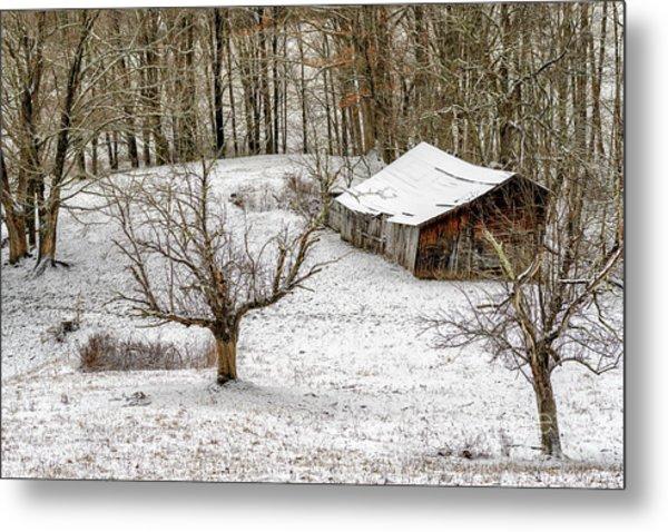Winter Barn Farm Scene Metal Print