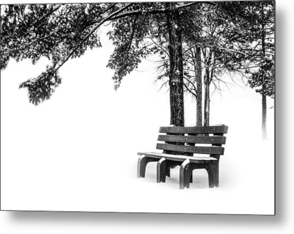 Metal Print featuring the photograph Winter Bench  by Michael Arend