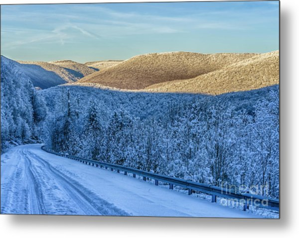Winter Drive Highland Scenic Highway Metal Print