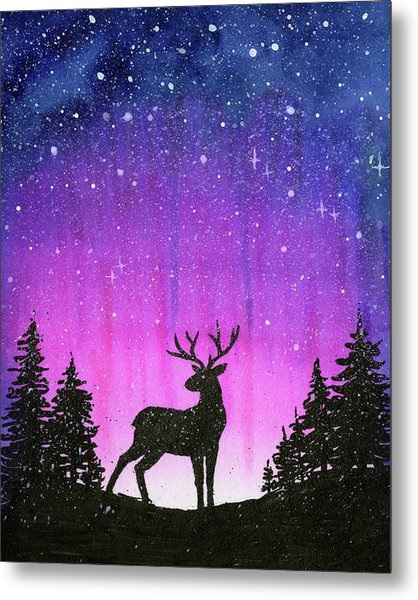 Winter Forest Galaxy Reindeer Metal Print