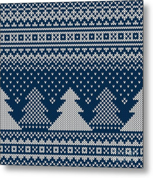 Winter Holiday Seamless Knitted Pattern Metal Print