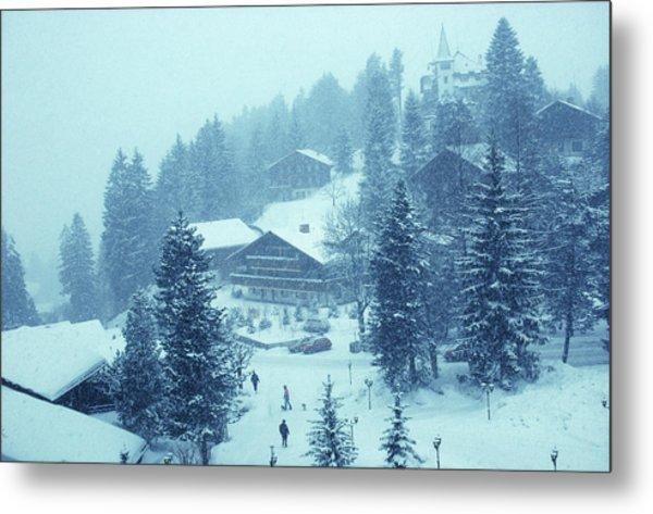 Winter In Gstaad Metal Print by Slim Aarons