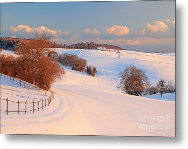 Winter Landscape Near The Village Of Metal Print