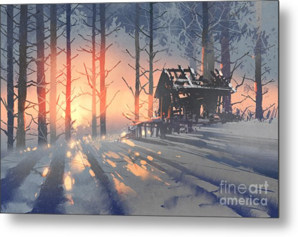 Winter Landscape Of An Abandoned House Metal Print