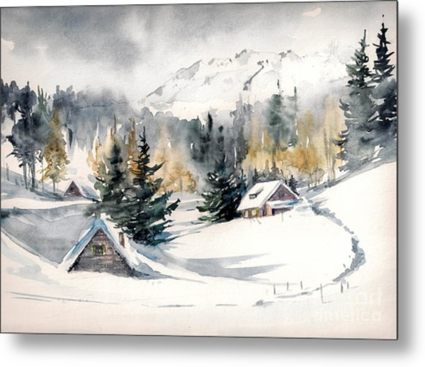 Winter Landscape With Mountain Village Metal Print by Deepgreen
